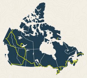 Le tracé du sentier Transcanadien qui relie les océans Atlantique, Arctique et Pacifique.