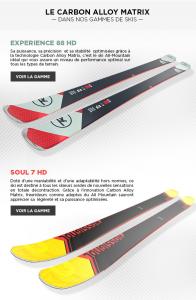Les nouveaux modèles de skis Rossignol dotés de la technologie Carbon Alloy Matrix.