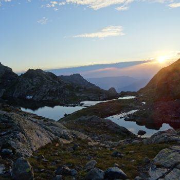 coucher de soleil au lac du Petit Doménon